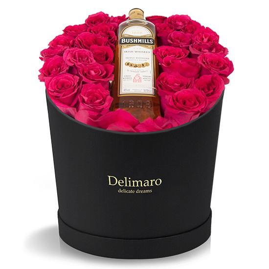 kwiaty z whiskey,duży box,alkohol z różami