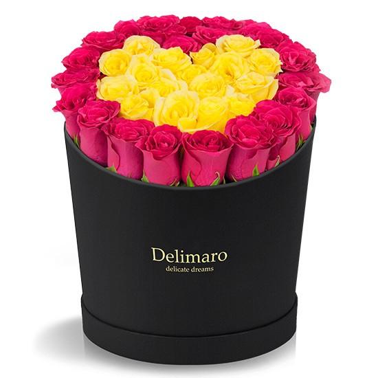 czerwone i żółte róże, Delimaro™,kwiaty w pudełku