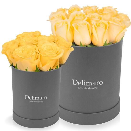 szary flower box,róże w pudełku,żółte róże w szarym flowerbox