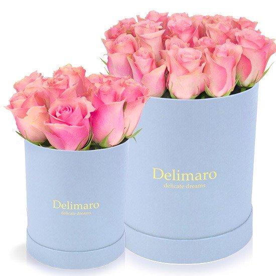 flower box, produkt Delimaro™,różowe róże w pudełku